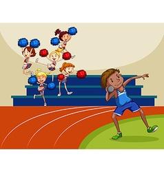 Cheerleaders cheering a game vector