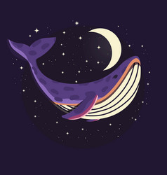 Colorful portrait cute whale in space vector