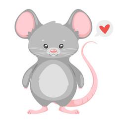 Cute rat cartoon character vector