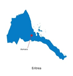 Detailed map of Eritrea and capital city Asmara vector image