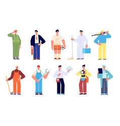different workers group young working characters vector image