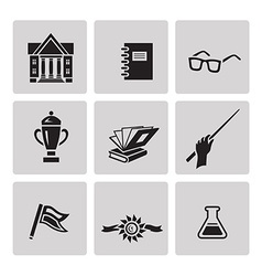 Education icon set Black sign on gray background vector