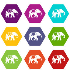 Elephant icon set color hexahedron vector
