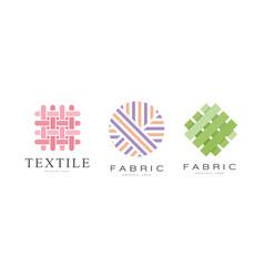 Fabric logo design set textile business identity vector