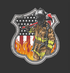 firefighter america vector image