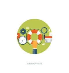 Flat background Web service vector image