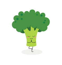 funny cartoon broccoli practicing yoga vector image