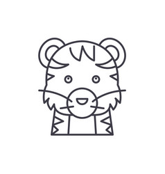 funny tiger line icon concept funny tiger vector image