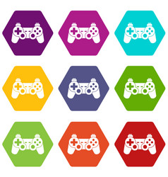 game controller icon set color hexahedron vector image