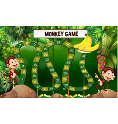 game template with monkeys in forest vector image