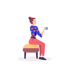 Girl sitting in chair and drinking coffee or tea vector