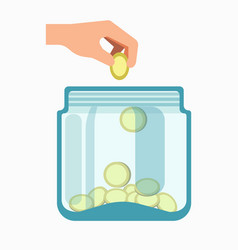 glass jar and hand dropping coins into it isolated vector image
