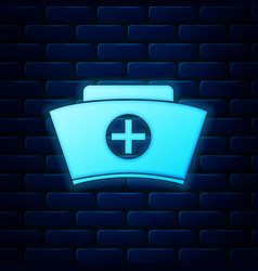 glowing neon nurse hat with cross icon isolated vector image