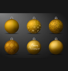 Gold christmas balls with silver holders set of vector