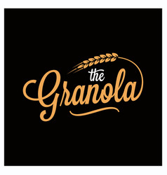 Granola lettering logo granola wheat on black vector
