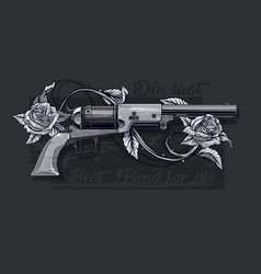 Graphic detailed old revolver with roses vector