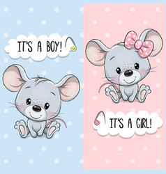 Greeting card with cute mouses boy and girl vector