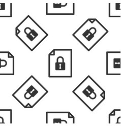 Grey document and lock icon isolated seamless vector