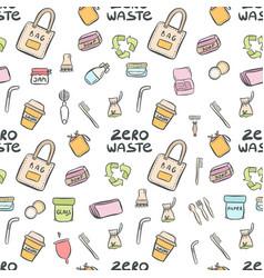 Hand drawn seamless pattern zero waste vector
