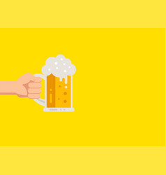 hand holding beer glasses with foam vector image