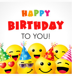 Happy birthday to you smile icons card vector