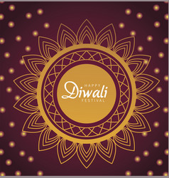 happy diwali celebration with lettering in golden vector image