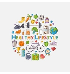 Healthy lifestyle sticker circle vector