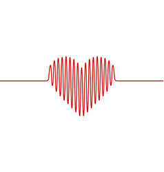 heart shape wavy line heartbeat hand drawn vector image