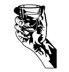 holding a shot glass vector image