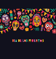 Horizontal banner template with dia de los muertos vector
