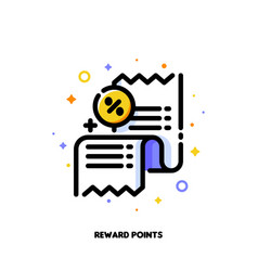 Icon receipt as reward points or customer loyalty vector