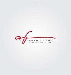 Initial letter af logo - handwritten signature st vector