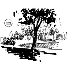 Ink of growing trees with some grass vector