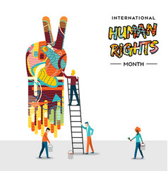 International human rights card of people teamwork vector