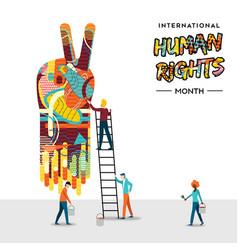 International human rights card people teamwork vector
