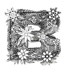 letter b dudling drawing mandala vector image