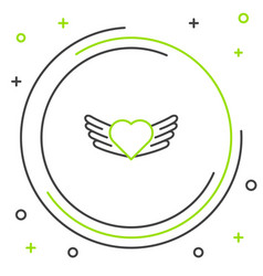 Line heart with wings icon isolated on white vector