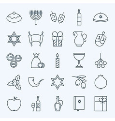 Line Holiday Happy Hanukkah Icons Set vector image