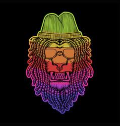 lion dreadlocks colorful vector image