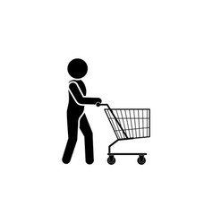 man with shopping trolley icon black on white vector image