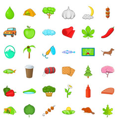 nature food icons set cartoon style vector image