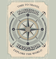 nautical poster wind rose and stylized marine vector image