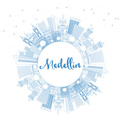 Outline medellin colombia city skyline with blue vector