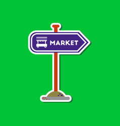 Paper sticker on stylish background sign of market vector