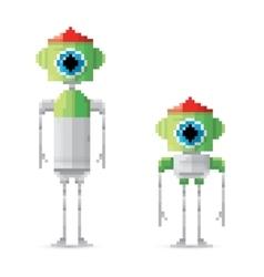 Pixel style green robot set vector