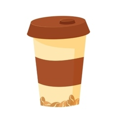 Plastic cup with lid for coffee vector
