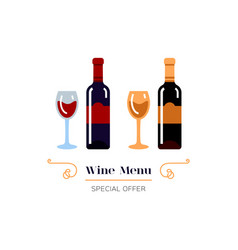 Red and white wine icon wine menu logo vector