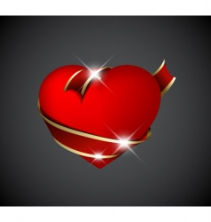 red heart with red ribbon vector image