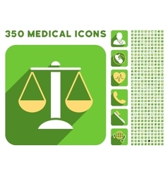Scales Icon and Medical Longshadow Icon Set vector image