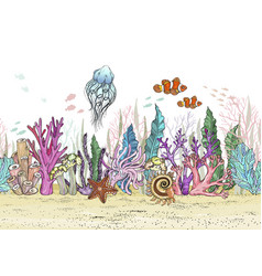 seamless pattern with hand drawn sea anemones vector image